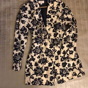 Tan & Navy Blue floral trench coat.